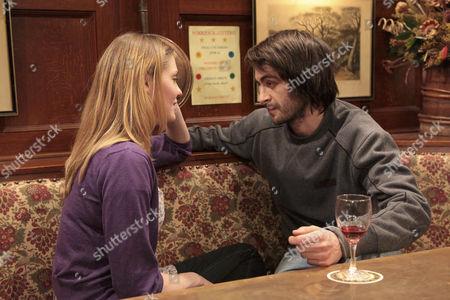 Eli Dingle [Joe Gilgun] is conflicted when Olena Petrovic [Carolin Stoltz] confides that she doesn't reciprocate Sam Dingle's feelings.