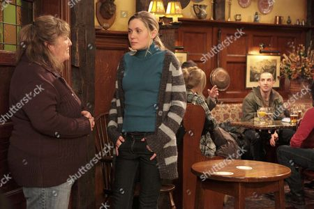 Stock Photo of Sam Dingle is gutted when he overhears Olena Petrovich [Carolin Stoltz] telling Lisa Dingle [Lisa Cox] that she doesn't want to move back in.