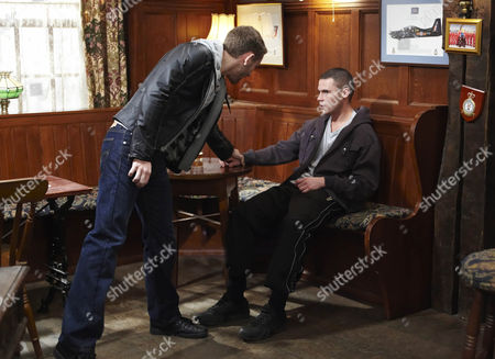 Aaron Livesy [Danny Miller] has been having a nervous drink with Jackson [Marc Silcock] and Ryan Lamb [James Sutton]. As they leave to go into town Jackson puts his hand on Aaron's shoulder which he thinks other drinker have seen.  He squares up to Jackson who is just about to say he thought they were going out when Aaron punches him.  The rest of the pub are shocked by Aaron's apparent homophobia.
