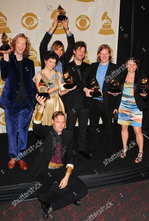 Richard Reed Parry, Win Butler, Regine Chassagne, William Butler, Jeremy Gara, Tim Kingsbury and Sarah Neufeld of the band Arcade Fire