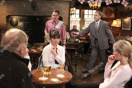 Terry Woods [Billy Hartman] has to escort Bob Hope [Tony Audenshaw]  out of the Woolpack when he loses it.
