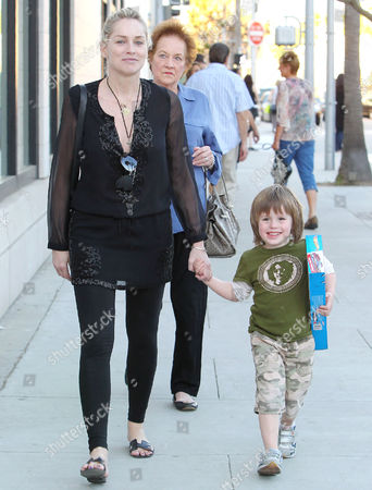 Sharon Stone with mother Dorothy Stone and son Roan Joseph Bronstein