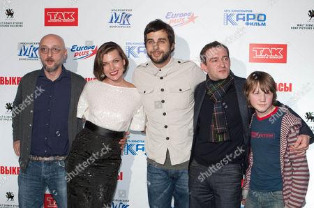 Ivan Urgant, Milla Jovovich, Levan Gabriadze, Savva Gusev and Konstantin Khabenskiy