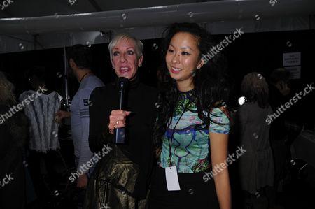 Jan Arnold and fashion designer Jen Kao backstage