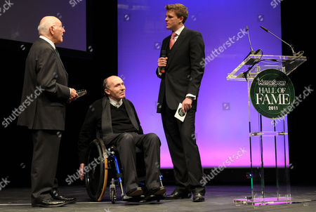 Murray Walker, Frank Williams and Jake Humphries