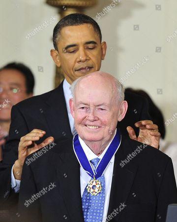 AFL-CIO President Emeritus John J Sweeney and United States President Barack Obama