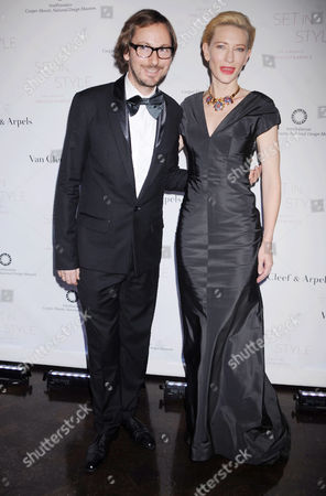 Stock Picture of Nicolas Bos, President and CEO of the Americas, Van Cleef & Arpels, Inc and Cate Blanchett