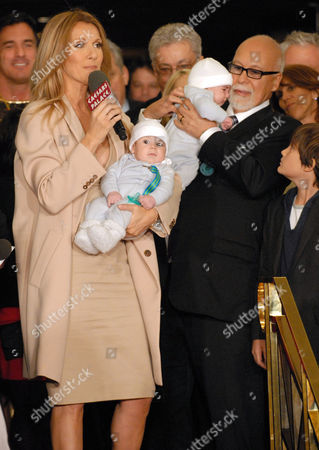 Celine Dion and husband Rene Angelil with twins Nelson and Eddy and son Rene-Charles