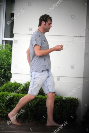 Editorial image of Brian Mcfadden at Kyle Sandilands' rented mansion, Terrey Hills, Sydney, Australia - 17 Feb 2011