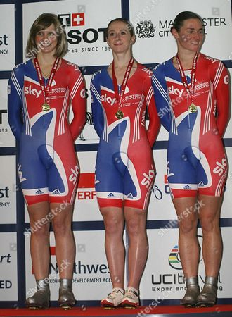 Joanna Rowsell, Wendy Houvenaghel and Sarah Storey on the podium after winning the women's Team Persuit