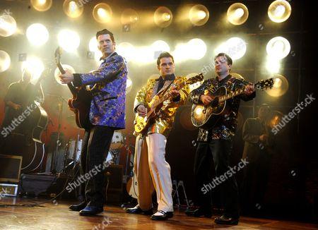 'Million Dollar Quartet' - Robert Britton Lyons (Carl Perkins), Michael Malarkey (Elvis Presley) and Derek Hagen ( Johnny Cash)