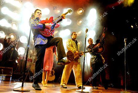 'Million Dollar Quartet' - Robert Britton Lyons (Carl Perkins), Michael Malarkey (Elvis Presley) and Derek Hagen (Johnny Cash)