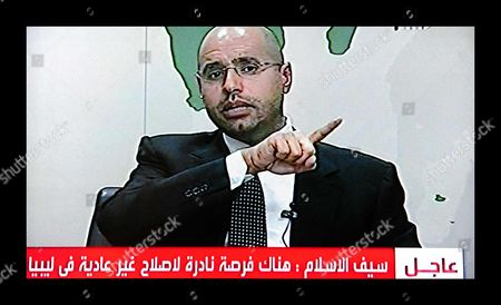 The son of longtime leader, Saif al-Islam Gaddafi appearing on Libyan state television