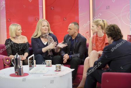 Ali Hall, Sarah Watkinson, Mark Heyes and Lyndsey O'Hagan with Michael Ball