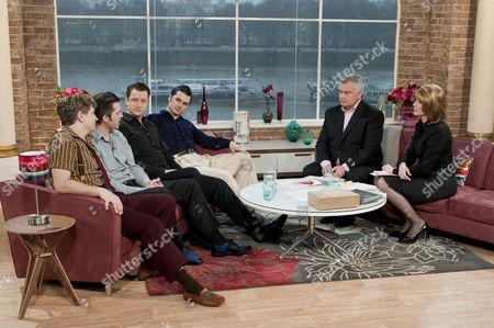 The cast of Million Dollar Quartet, Ben Goddard, Michael Malarkey, Derek Hagen and Robert Britton Lyons with Eamonn Holmes and Ruth Langsford.