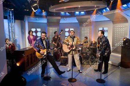 'Million Dollar Quartet' - Ben Goddard (Jerry Lee Lewis), Robert Britton Lyons (Carl Perkins), Michael Malarkey (Elvis Presley) and Derek Hagen (Johnny Cash)