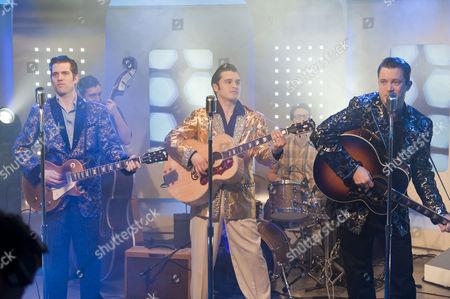 Million Dollar Quartet - Robert Britton Lyons (Carl Perkins), Michael Malarkey (Elvis Presley) and Derek Hagen (Johnny Cash)