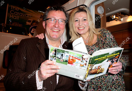 Stock Photo of Rowland and Monica Rivron with her new book 'Caravan Cookbook'