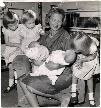 Pauline Guinness (mrs James Guinness) Nee Pauline Mander Picture Shows Pauline Guiness With Children Miranda Guinness (now Mrs Keith Payne) And Sabrina Guinness Four-year-old Twins Anita Guinness (now Mrs James Wigan) And Three-week-old Twins Hugo Guinness And Julia Guinness (hon Mrs Michael Samuel)