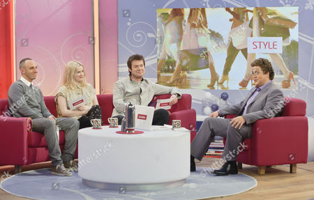 Stock Image of Mark Heyes, Joanna McGarry, Richard Ward with guest Presenter Michael Ball during fashion segment