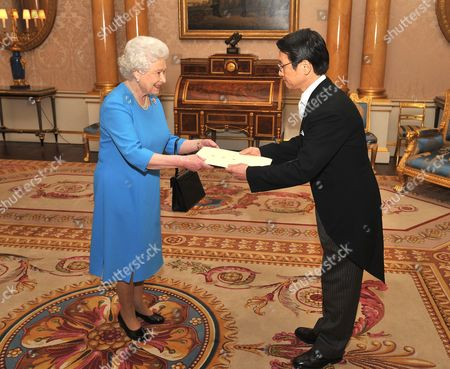 Her Majesty Queen Elizabeth II with the Ambassador of Japan Mr Keiichi Hayashi, as he presents his Credentials during a private meeting at Buckingham Palace