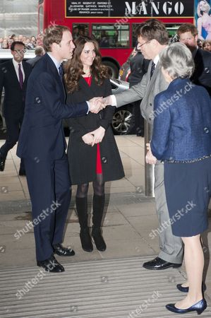 Prince William, Kate Middleton and Prince Harry with the High Commissioner Derek Leask and deputy Belinda Brown