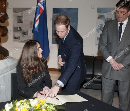 Kate Middleton and Prince William with the High Commissioner Derek Leask.