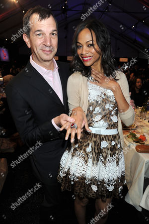 Philippe Leopold-Metzger (CEO Piaget) and Zoe Saldana