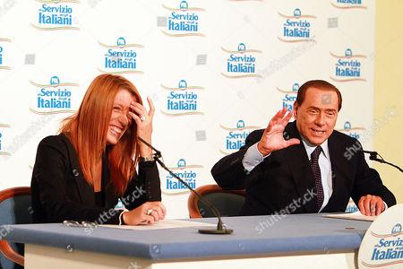 Minister of Tourism Michela Vittoria Brambilla and Prime Minister Silvio Berlusconi