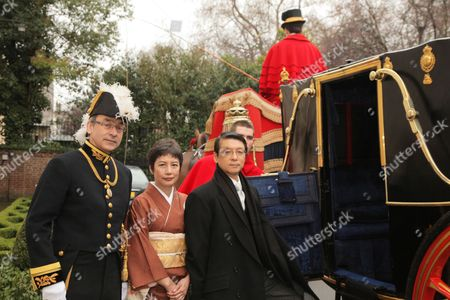 Simon Martin, Director of Protocol and Vice Marshal of the Diplomatic Corps, FCO and Japanese Ambassador Keiichi Hayashi  and wife Hiroko Hayashi at the Presentation of Credentials in London