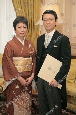 Japanese Ambassador Keiichi Hayashi  and wife Hiroko Hayashi at the Presentation of Credentials in London
