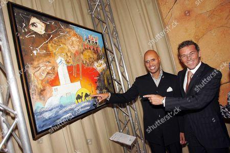 Saif al-Islam Gaddafi with Austrian politician Joerg Haider