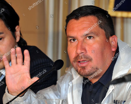 Edison Pena, one of 33 Chilean miners rescued last October, speaks during a news conference at Tokyo's Foreign Correspondents Club