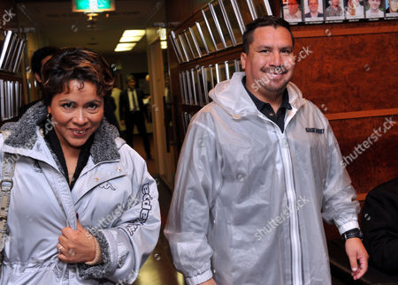 Edison Pena, one of 33 Chilean miners rescued last October, with his wife Angerica Alvarez