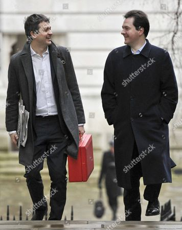 Chancellor of the Exchequer The Rt Hon George Osborne MP arriving at the back entrance to Downing Street this morning for work, sharing a Joke with Rupert Harrison, Chief of staff to George Osborne