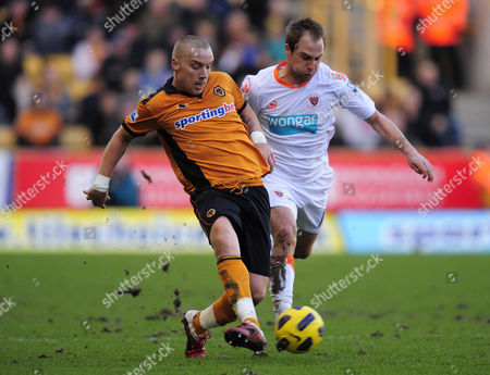 Jamie O'Hara of Wolverhampton Wanderers and Luke Varney of Blackpool