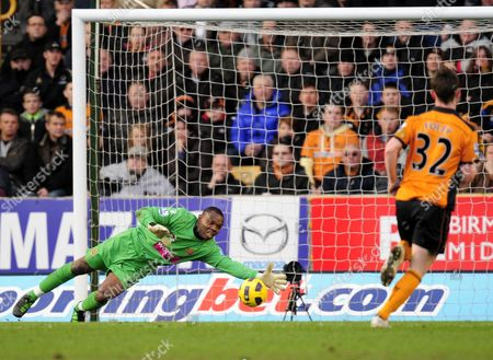 Blackpool goalkeeper Richard Kingson is unable to stop the shot of Jamie O'Hara of Wolverhampton Wanderers for the second goal, 2-0