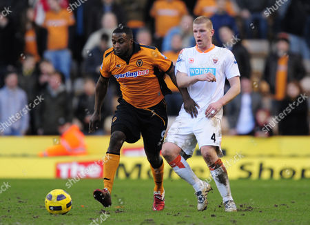 Sylvan Ebanks-Blake of Wolverhampton Wanderers and Keith Southern of Blackpool