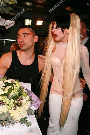 Lady Gaga and Nicolas Formichetti backstage