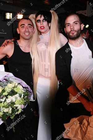 Lady Gaga with Nicolas Formichetti (L) and Sebastien Peigne backstage