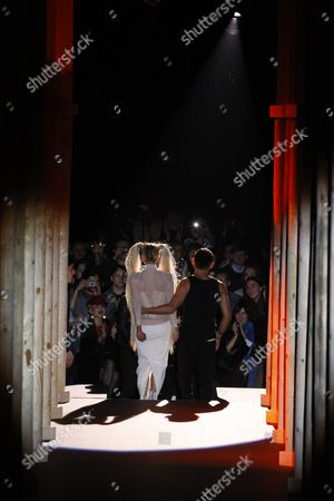 Lady Gaga with Nicolas Formichetti on the catwalk