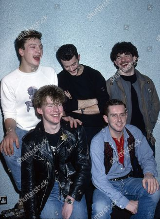 Frankie Goes to Hollywood - clockwise - Mark O'Toole, Paul Rutherford, Peter Gill, Holly Johnson and Brian Nash