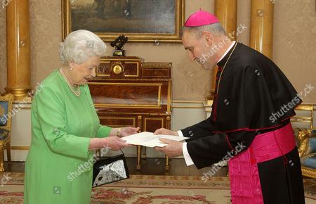 Queen Elizabeth II receives His Excellency the Apostolic Nuncio, Archbishop Antonio Mennini at Buckingham Palace where he presented his Letter of Credence.