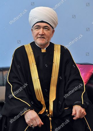 Stock Image of The head of the Russian Mufti Council Rawil Gaynetdin during an interview at the Islamic Cultural Centre
