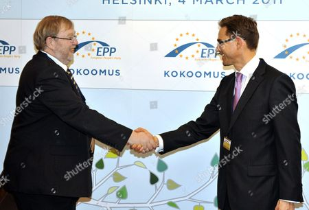 Stock Picture of Mart Laar, President of the Estonian EPP member-party Pro Patria and Res Publica Union meets with Finland's Finance Minister Jyrki Katainen