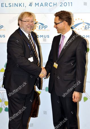 Stock Image of Mart Laar, President of the Estonian EPP member-party Pro Patria and Res Publica Union meets with Finland's Finance Minister Jyrki Katainen
