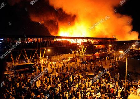 Fire rages through a slum in Mumbai, India