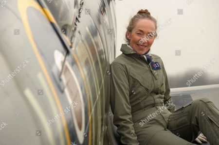 Pilot Carolyn Grace, who is the only female Spitfire pilot in the world