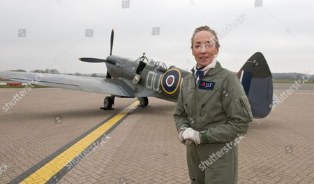 Stock Image of Pilot Carolyn Grace, who is the only female Spitfire pilot in the world