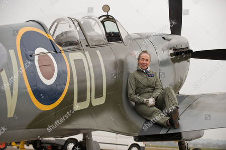 Stock Photo of Pilot Carolyn Grace, who is the only female Spitfire pilot in the world